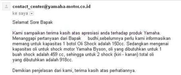Kapasitas Olie Shock depan yamaha Byson